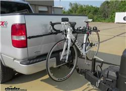 Ball mount bicycle carrier installed with bike mounted