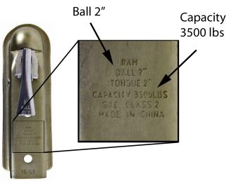 Ball size and capacity listed on trailer coupler