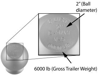 Ball size and capacity listed on trailer ball