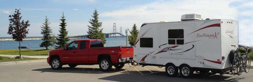 Truck Pulling Travel Trailer