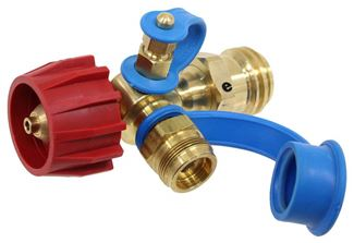 Right Angle Propane Regulator with 1-20 Female Adapter hooks to throw a way cyl.