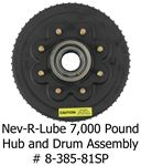 Hub and drum assembly for Nev-R-Lube