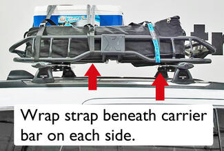 Tie-Down Straps Secure Cargo in Roof Rack Basket