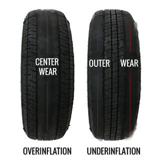 Tire Overinflation and Underinflation Wear