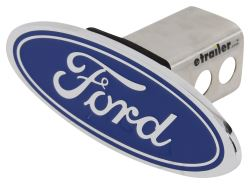 "Ford Logo Trailer Hitch Receiver Cover - 2"" Hitches - Blue and Chrome"