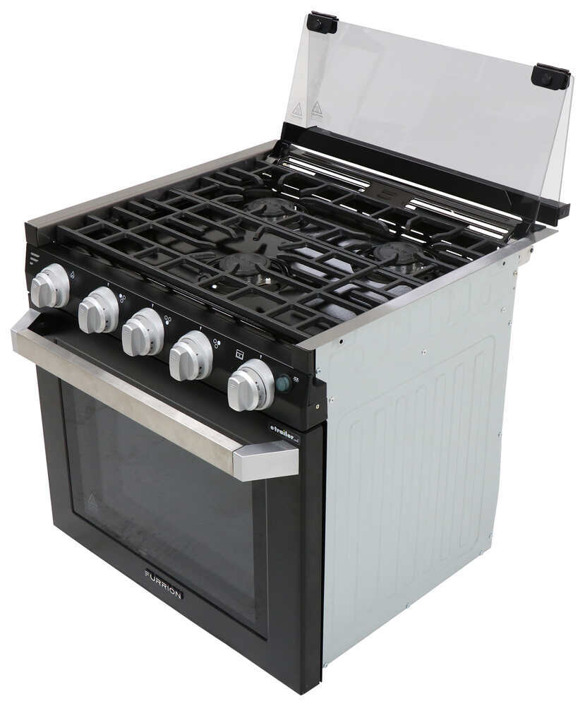 "Furrion 2-in-1 Range Oven w/ Die-Cast Grate - Propane - 21"" Tall - Black 12V FSRE21SABL"