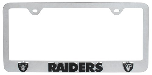 Oakland Raiders NFL 3-D License Plate Frame - Chrome-Plated Steel ...