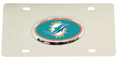 Miami Dolphins Nfl License Plate Chrome Lined Oval Logo