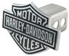 Side View of Harley-Davidson Motorcycles Black Logo Trailer Hitch Cover for 2 Inch Trailer Hitches