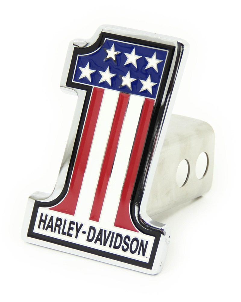 """Harley-Davidson 2"""" Trailer Hitch Receiver Cover - Number 1 American Flag - Chrome-Plated Brass Standard HDHC153"""
