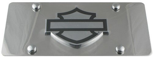 Harley-Davidson License Plate with Plain Bar and Shield Cut-Out Emblem Stainless Steel HDLPD12