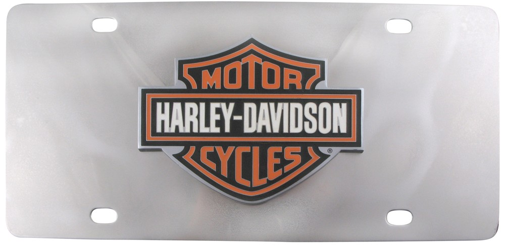 Harley Davidson License Plate With 3 Color Logo Cut Out