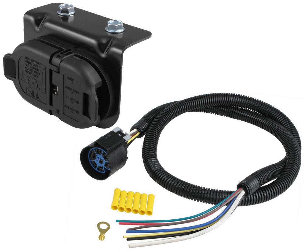 7-Pole and 4-Pole Trailer Connector Sockets w/ Mounting Bracket and Wiring  - Vehicle End Hopkins Custom Fit Vehicle Wiring HM40975-11998