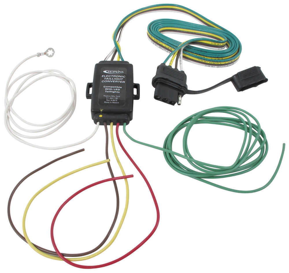 Hopkins Tail Light Converter Kit With 4 Way Flat Connector Led 2007 Chevy Silverado Trailer Brake Wiring Diagram Compatible Hm48895