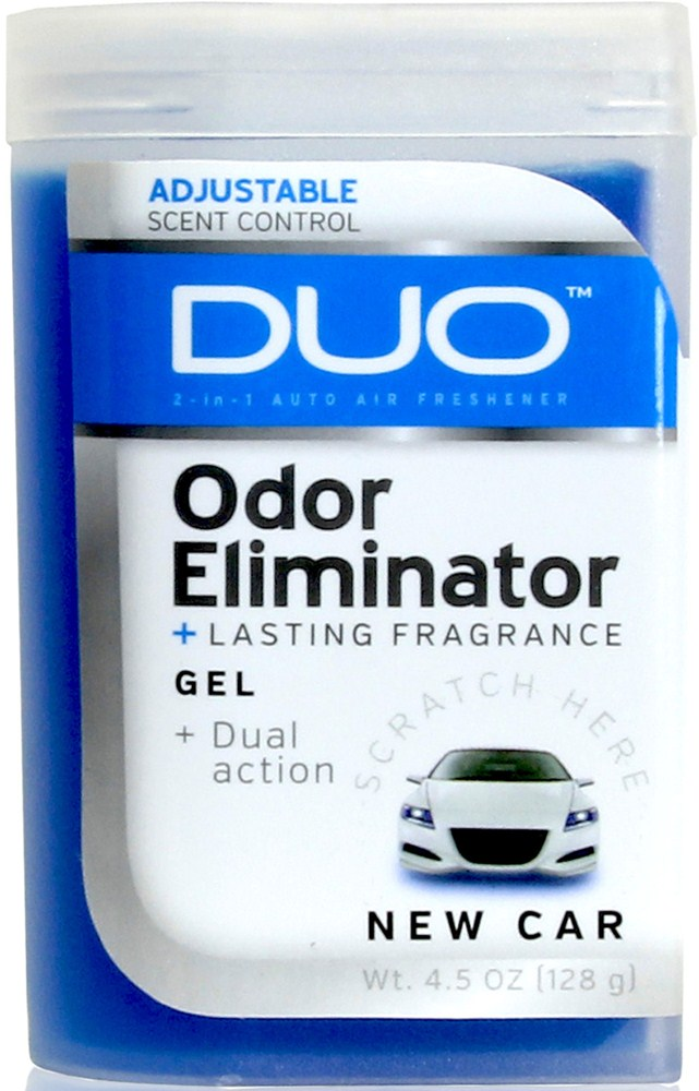 Duo gel air freshener and odor eliminator new car