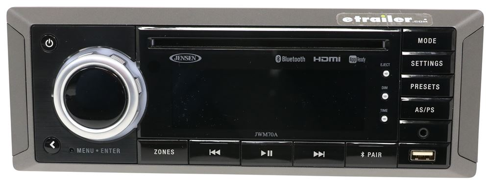 Jensen RV Stereo - Single DIN - AUX/USB, Bluetooth, jControl - 12V