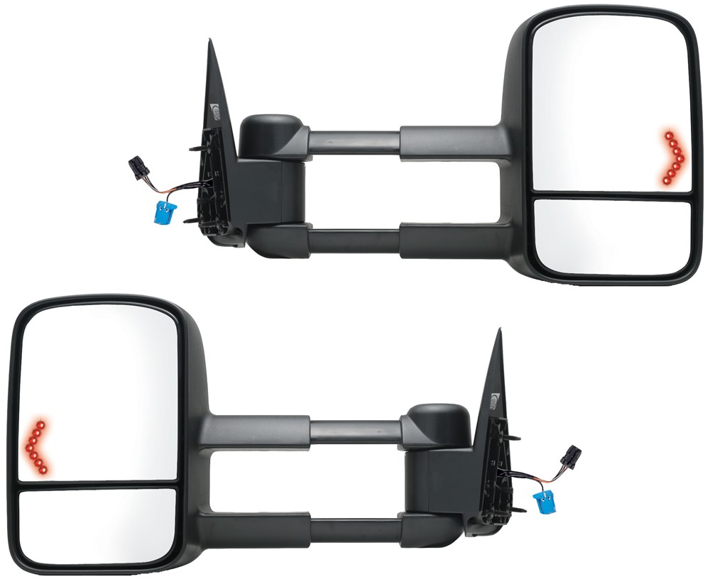 K-Source Custom Extendable Towing Mirrors - Electric/Heat w LED Signal -  Textured Black - Pair K Source Custom Towing Mirrors KS62075-76G