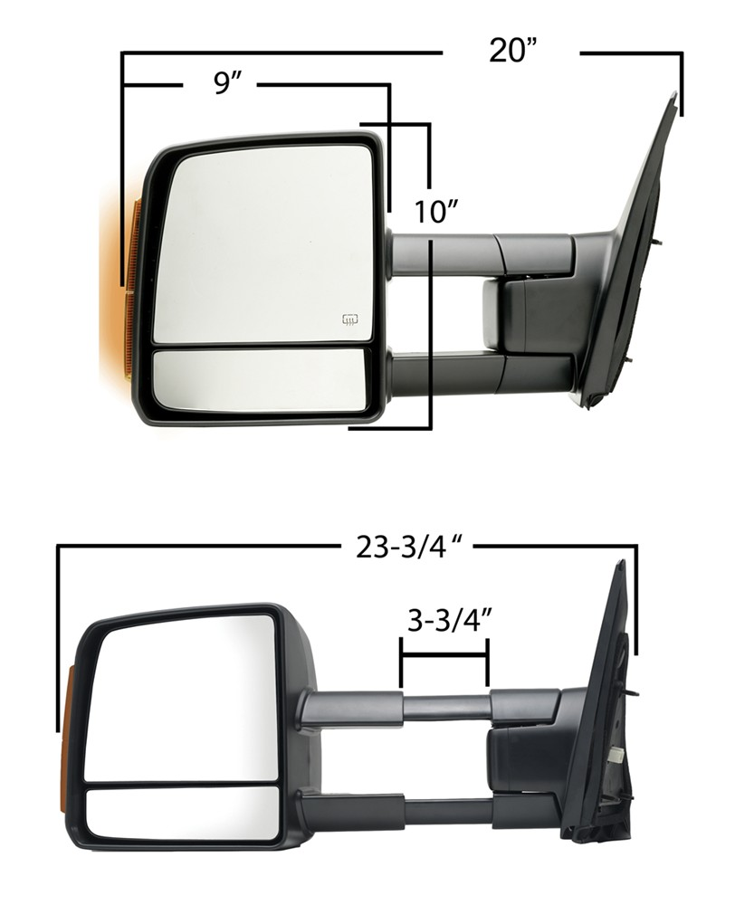 K Source Custom Extendable Towing Mirror Electric Heat W Turn Toyota Wiring Diagram Signal Textured Black Passenger Replacement Mirrors Ks70103t