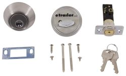 "Valterra Deadbolt Lock for RVs - Single Cylinder - Stainless Steel - 5/8"" Throw"