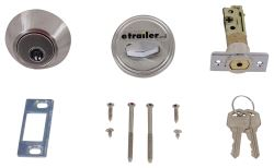 "Valterra Deadbolt Lock for RVs - Single Cylinder - Stainless Steel - 1"" Throw"