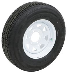 "Castle Rock ST225/75R15 Radial Trailer Tire w/ 15"" White Spoke Wheel - 6 on 5-1/2 - LR D"