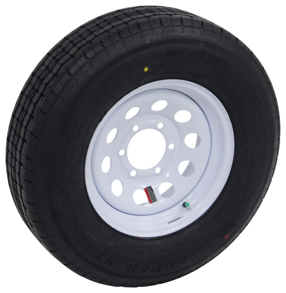 "Westlake ST225/75R15 Radial Trailer Tire w/ 15"" White Mod Wheel - 6 on 5-1/2 - Load Range E 15 Inch LHAW101"
