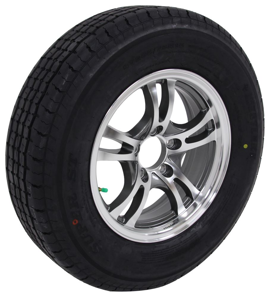 "Westlake ST205/75R15 Radial Tire w 15"" Jaguar Aluminum Wheel - 5 on 4-1/2 - LR D - Gray 5 on 4-1/2 Inch LHAWLSJ301G"
