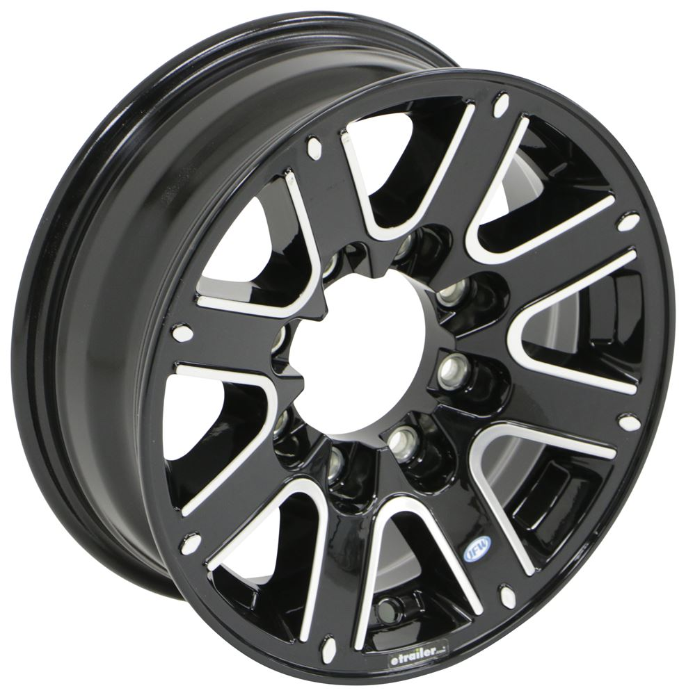 "Aluminum Leopard Trailer Wheel - 16"" x 6"" Rim - 8 on 6-1/2 - Black 8 on 6-1/2 Inch LHJL513B"