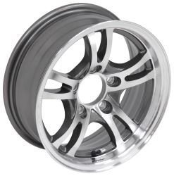 "Aluminum Jaguar Trailer Wheel - 14"" x 5-1/2"" Rim - 5 on 4-1/2 - Gunmetal Gray"