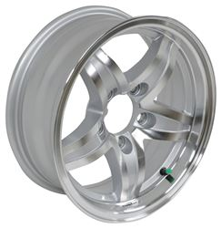 "Aluminum Lynx Trailer Wheel - 14"" x 5-1/2"" Rim - 5 on 4-1/2 - Silver"