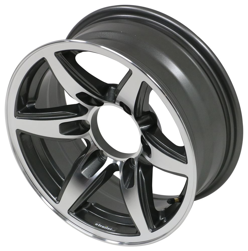 "Aluminum Bobcat Trailer Wheel - 15"" x 6"" Rim - 6 on 5-1/2 - Gunmetal Gray 15 Inch LHSO311G"