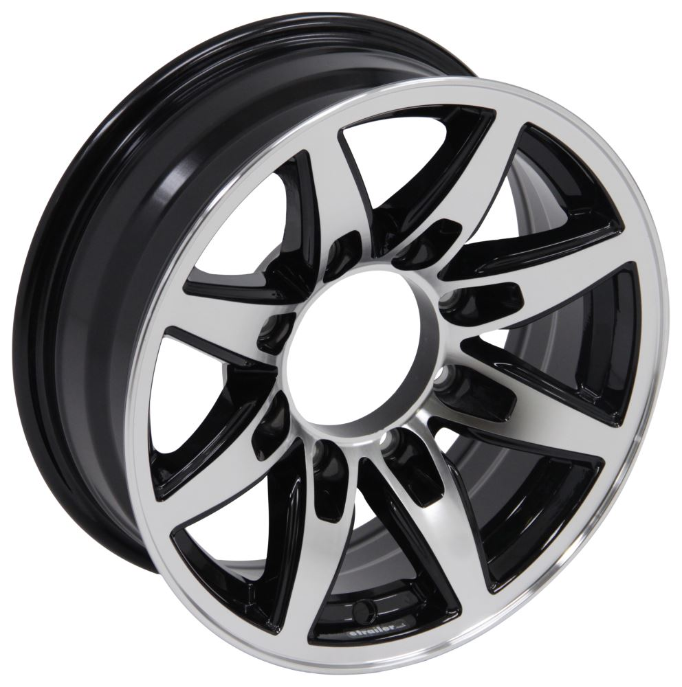 "Aluminum Bobcat Trailer Wheel - 16"" x 6"" Rim - 8 on 6-1/2 - Black Aluminum Wheels,Boat Trailer Wheels LHSO513B"
