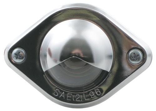 Chrome Plated Round Trailer License Plate Light with Mount Ears