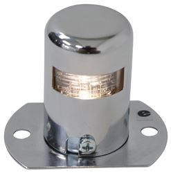 LED Trailer License Plate Light with Housing and Mounting Flange - Clear Lens - Chrome Plated Steel