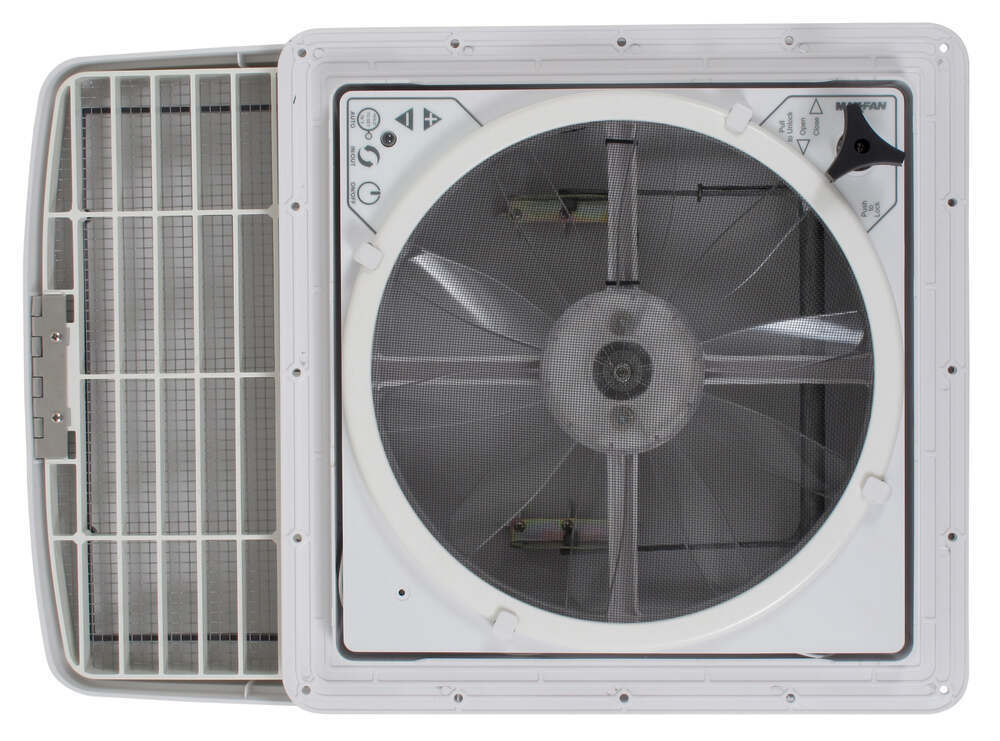 Rv Exhaust Fan : Maxxfan deluxe roof vent w v fan and thermostat