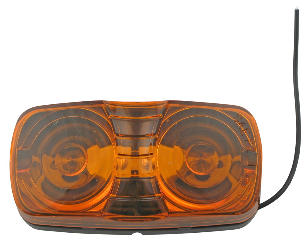 Double Bullseye Trailer Clearance, Side Marker Light, Two-Bulb - Amber Surface Mount MC42AB