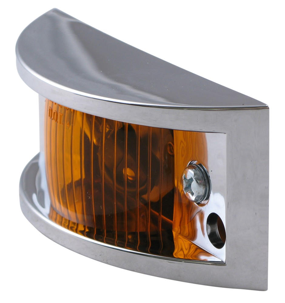 chrome plated trailer clearance side marker light amber. Black Bedroom Furniture Sets. Home Design Ideas