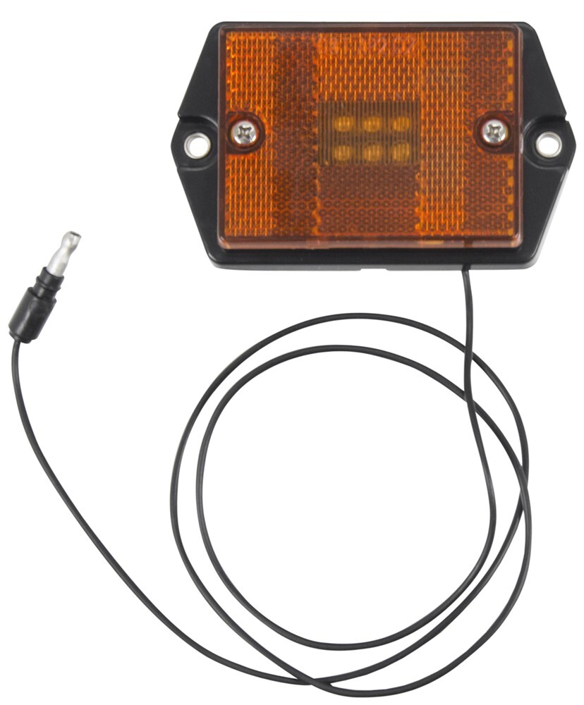 Optronics Led Clearance And Side Marker Light W Reflector 6 Pontiac Fiero Gt Charging System Circuit Diodes Rectangle Amber Lens Trailer Lights Mcl35a32g