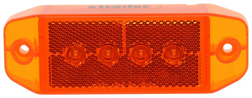 LED Clearance or Side Marker Light w/ Reflector - Submersible - 4 Diode - Rectangle - Amber Lens Rectangle MCL76AB