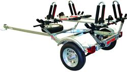 Malone MicroSport Trailer with J-Pro Kayak Carriers and Pilot Bike Racks - 2 Kayaks and 2 Bikes