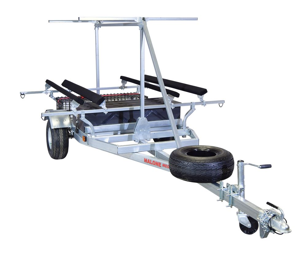 Malone MegaSport 2 Tier Trailer for Heavy Boats - 2 Storage Containers - 14' Long - 1000 lbs 2 Inch Ball Coupler MPG550-TH