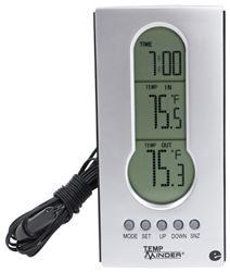 TempMinder Indoor and Outdoor Thermometer with Clock - Digital LCD Display