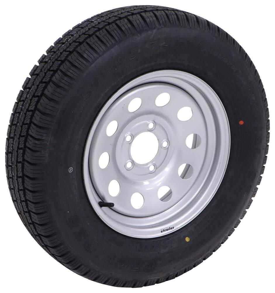 "Provider ST205/75R15 Radial Trailer Tire w/ 15"" Vesper Silver Mod Wheel - 5 on 4-1/2 - LR C 15 Inch MX57FR"