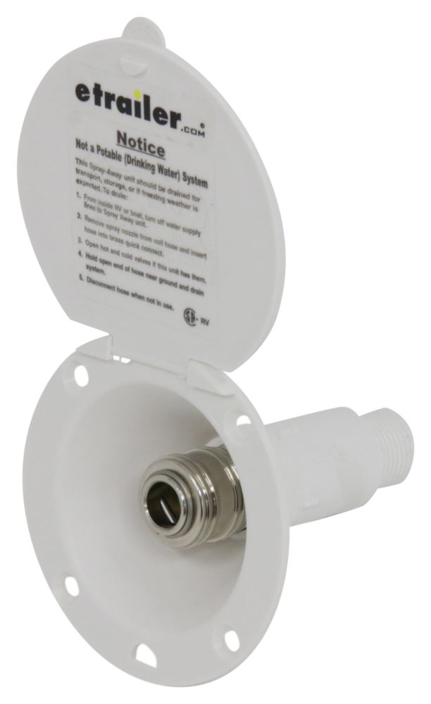 "D&W Inc. Spray-Port RV Exterior Hose Hookup - 2-3/4"" Round - White Quick Connect Valve PF147005"