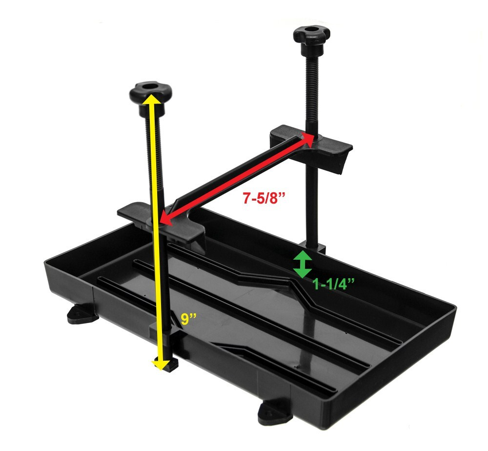 Battery Hold Down : Powerhouse battery tray with bracket and hold down rods