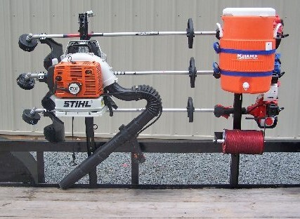 Pack'Em Rack for Open Utility Trailers - Holds 3 Trimmers, 1 Blower