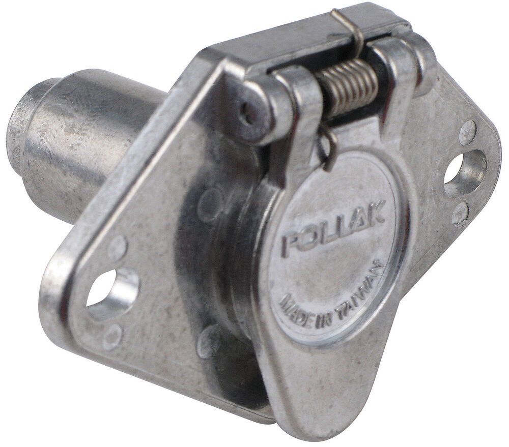 Pollak Heavy-duty  4-pole  Round Pin Trailer Wiring Socket - Metal