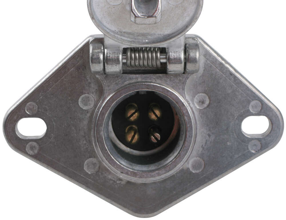 Pollak Heavy-duty  4-pole  Round Pin Trailer Wiring Socket - Metal