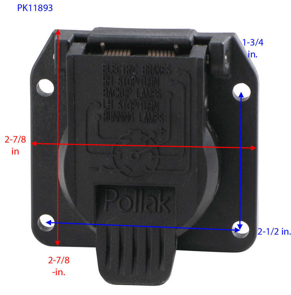 pollak replacement 7-pole, rv-style trailer connector socket - vehicle end pollak  wiring pk11893