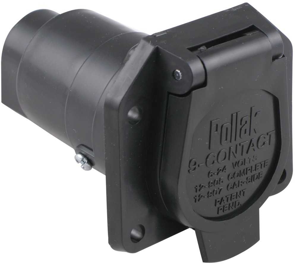 pollak 9-pole, round pin trailer socket - vehicle end pollak wiring pk12907